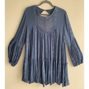 Free People Kiss Kiss Tunic Navy Size Medium
